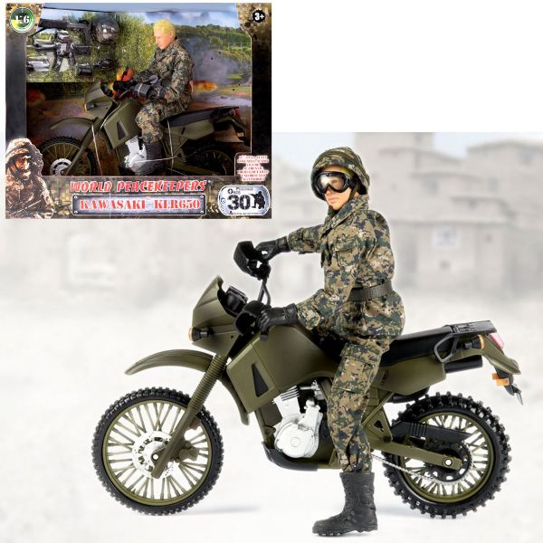 World Peacekeepers Kawasaki KLR Dirt Bike And 12 Inch Army Military Figure Toy